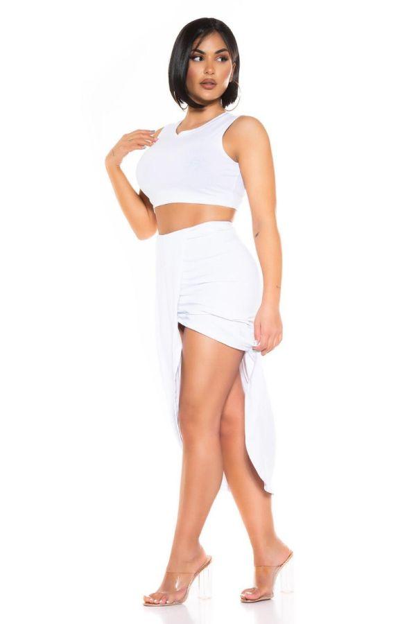 set crop top long skirt white.