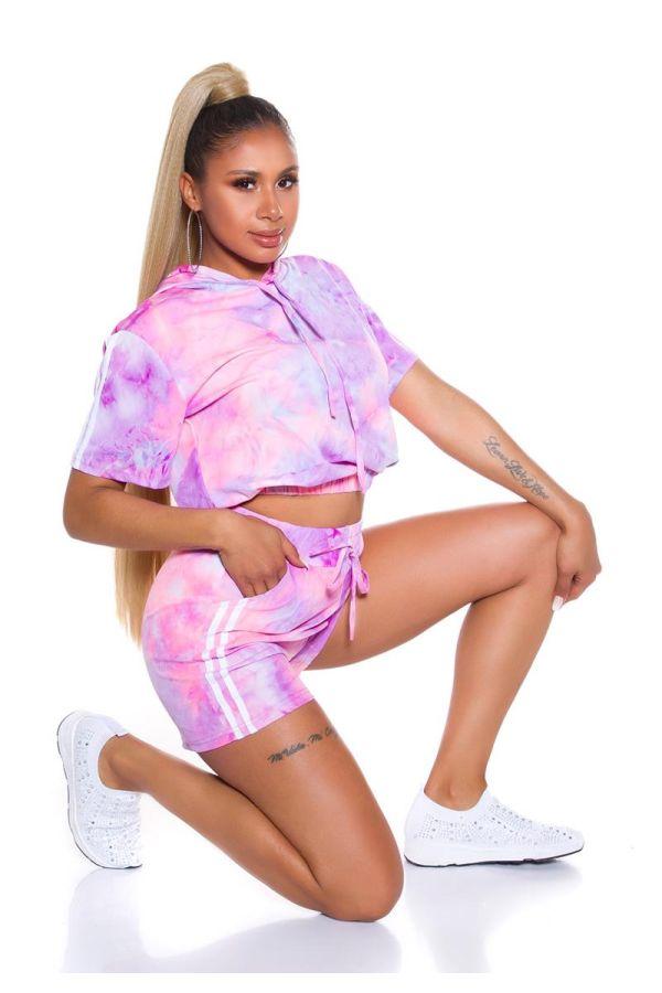 set crop t-shirt shorts multicolour lilac.