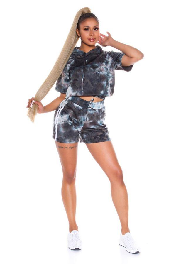 set crop t-shirt shorts multicolour black.