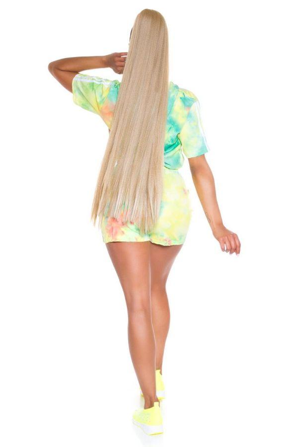 set crop t-shirt shorts multicolour green.