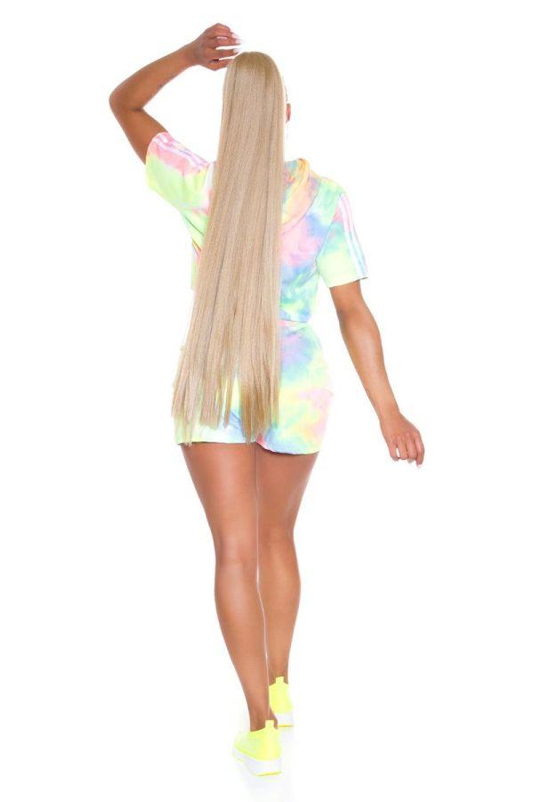 set crop t-shirt shorts multicolour pink.