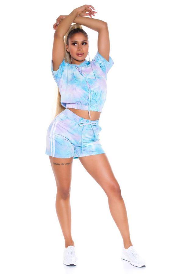 set crop t-shirt shorts multicolour turquoise.