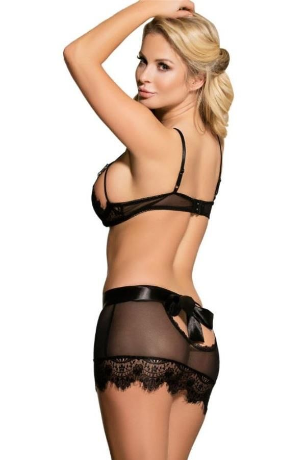 LINGERIE SET CLEARS LACE BLACK DRED220605