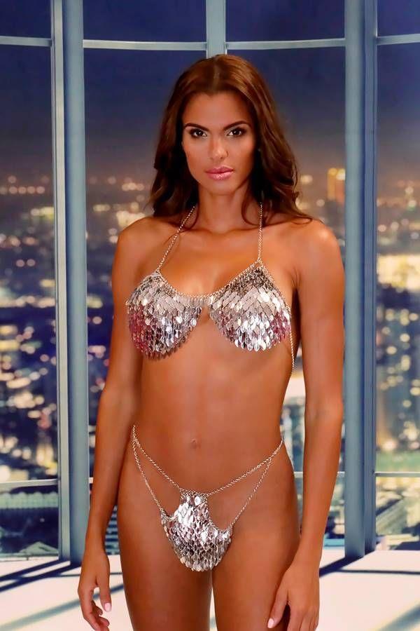 set metallic body jewelry bra string sexy silver.