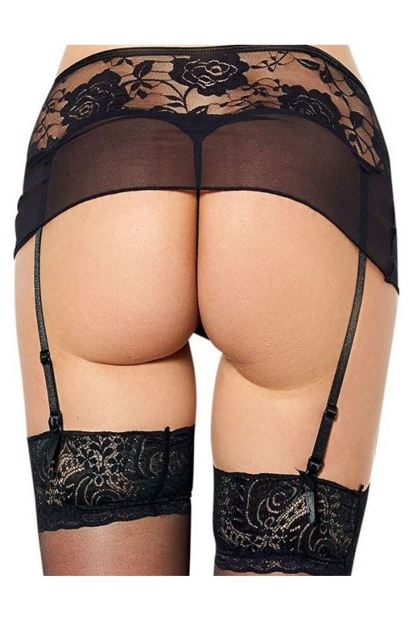 SET LINGERIE GARTER BELT MICRO THONG BLACK DRED223558