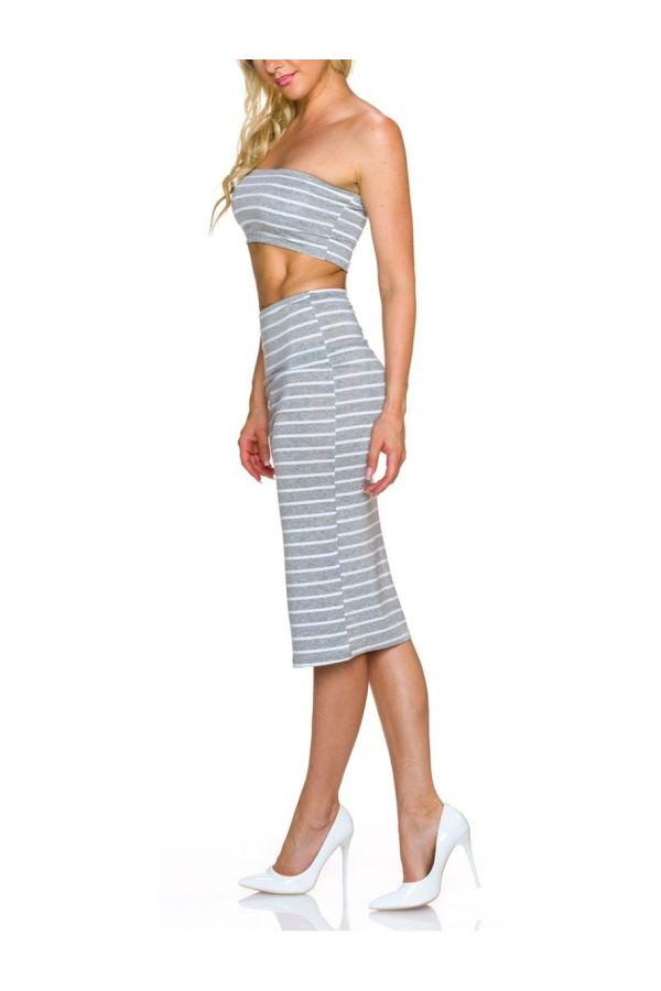 set midi skirt top grey white.