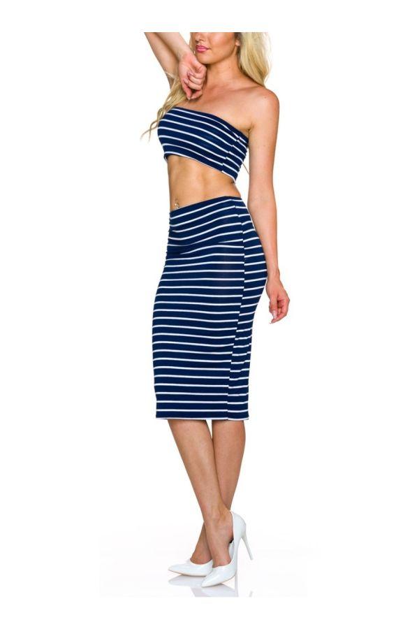 set midi skirt top blue white.