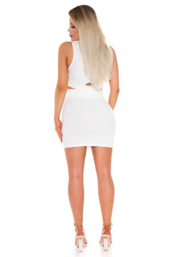 set crop top cutouts skirt white.