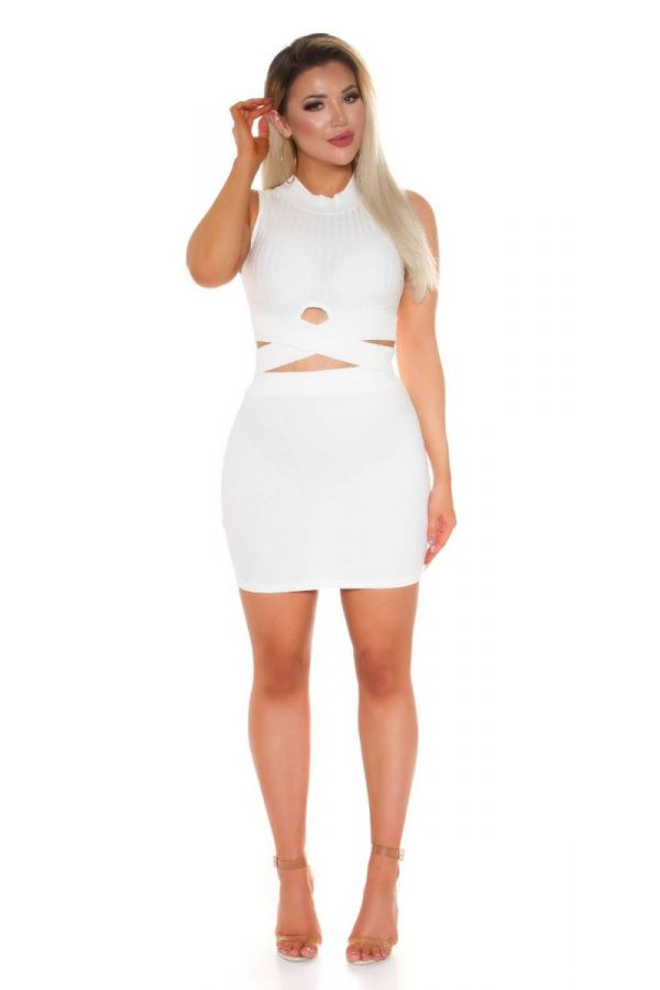SET CROP TOP CUTOUTS SKIRT WHITE ISDT521251