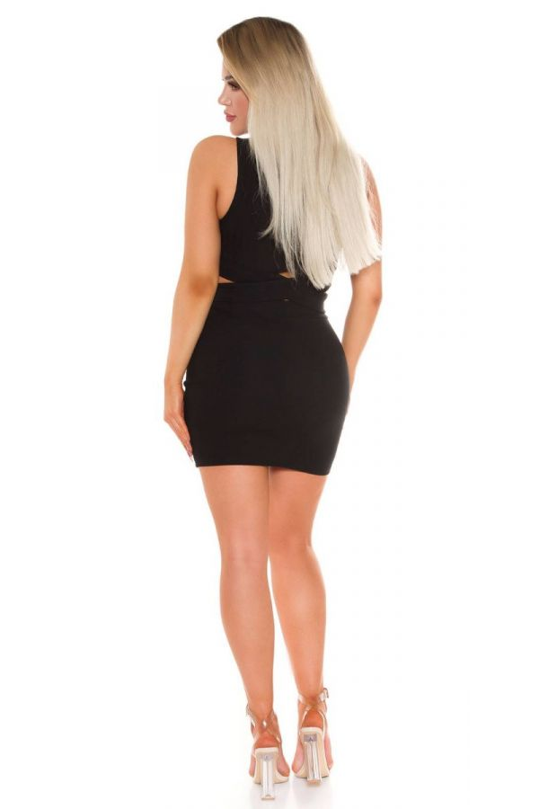 set crop top cutouts skirt black.