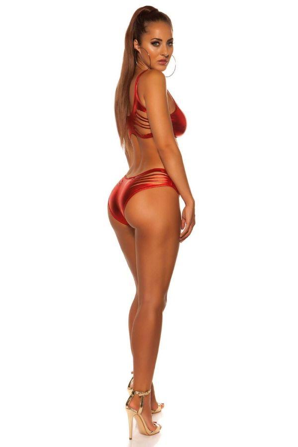 Set Sexy Gogo Shorts Top Wetlook Red ISD185885