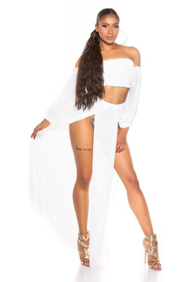 Set Maxi Skirt Top Latina Chiffon White ISDT831821