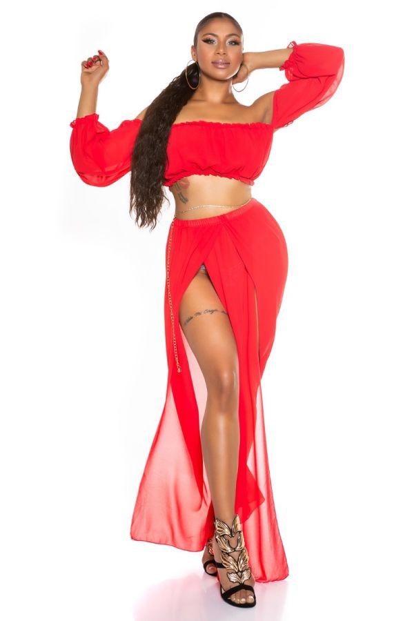 σετ μακριά φούστα τοπ latina chifon κόκκινο.