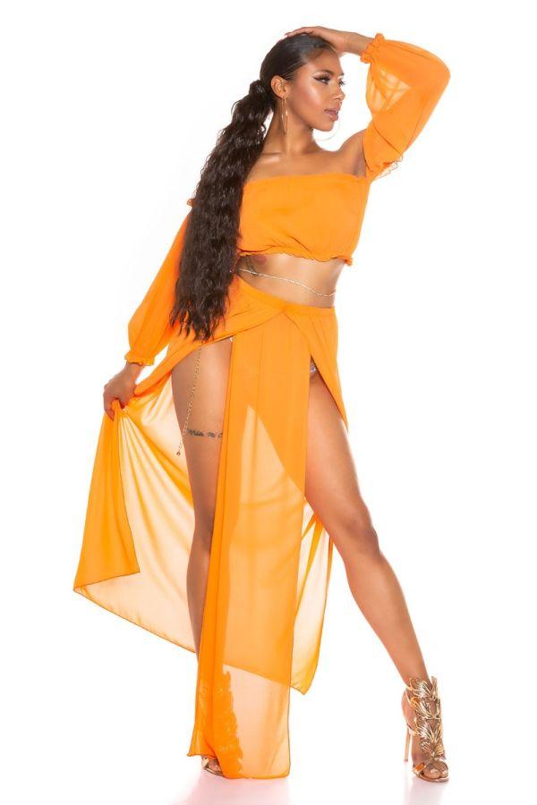 Σετ Μακριά Φούστα Τοπ Latina Chiffon Πορτοκαλί ISDT831821