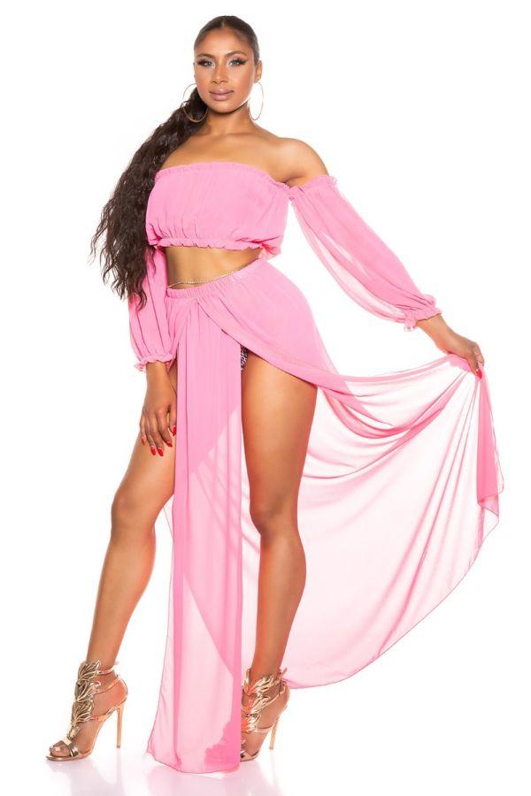 set maxi skirt top latina chiffon pink.