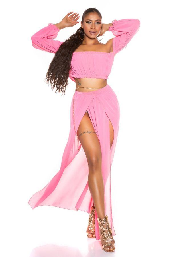 Set Maxi Skirt Top Latina Chiffon Pink ISDT831821