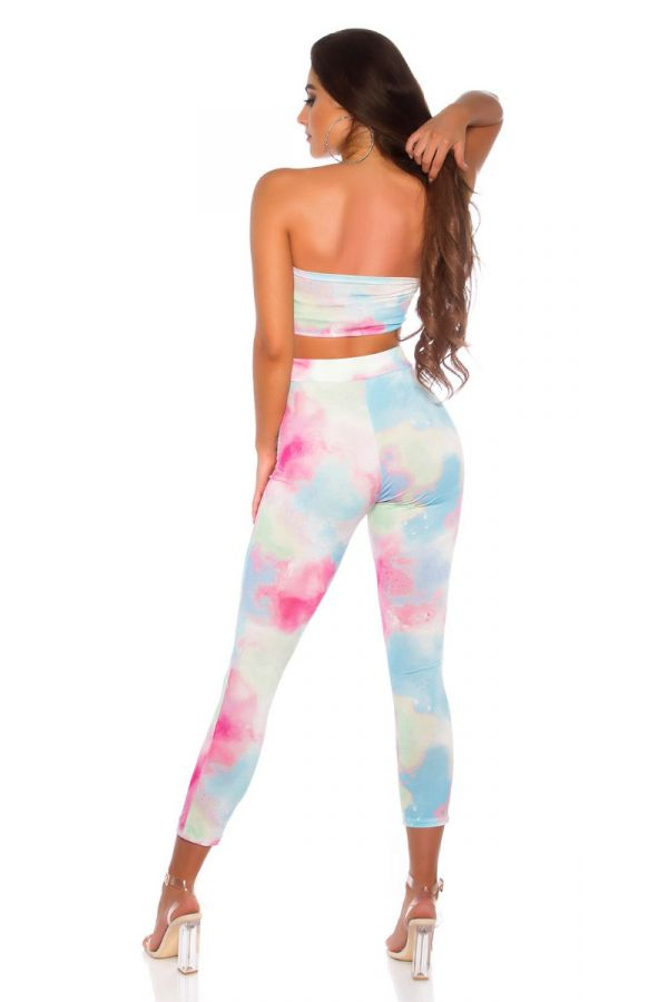 SET TRENDY LEGGINGS TOP MULTICOLOR FUCHSIA ISDS208643