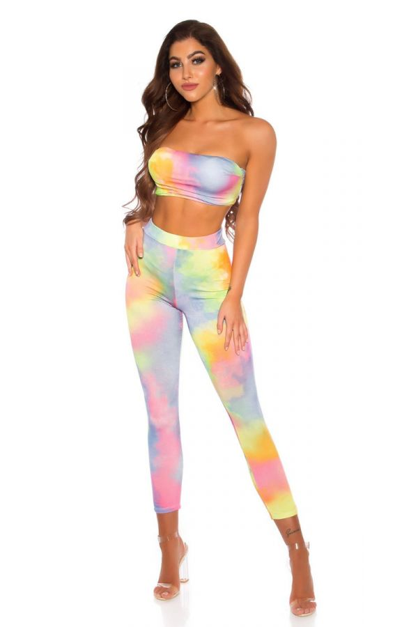 SET TRENDY LEGGINGS TOP MULTICOLOR YELLOW ISDS208643