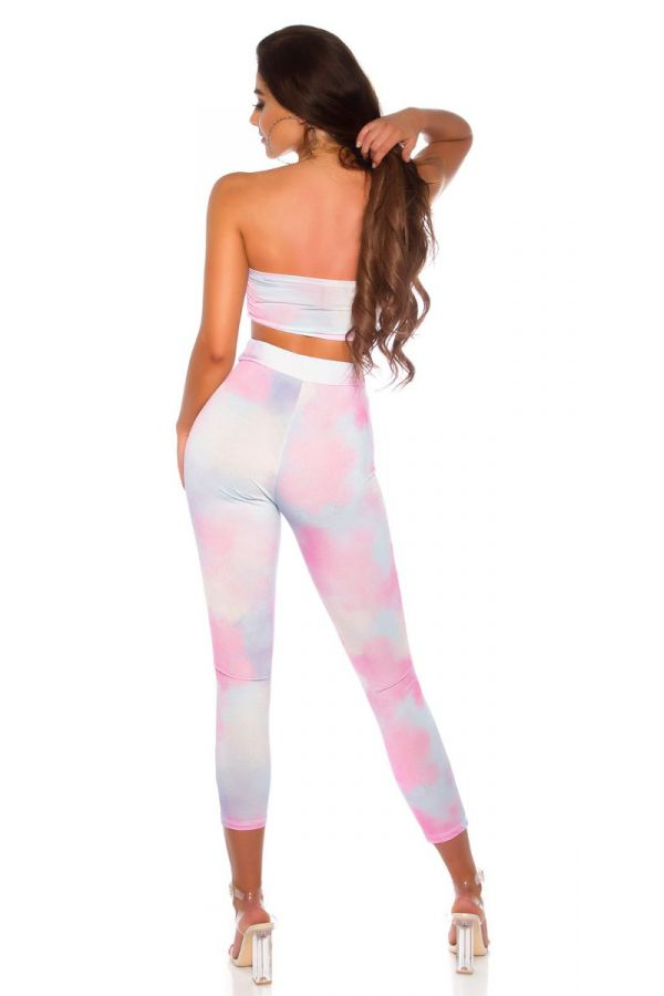 SET TRENDY LEGGINGS TOP MULTICOLOR PINK ISDS208643