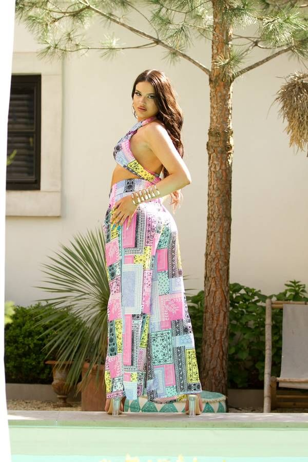 Set Wide Pants Tied Top Colorful Pink ISDT871556