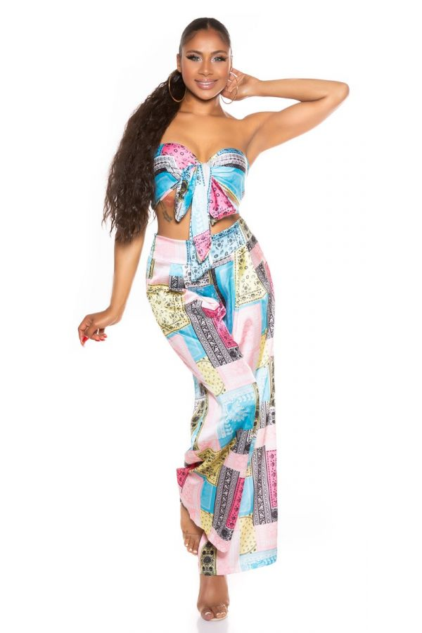 set wide pants top tied colorful turquoise.