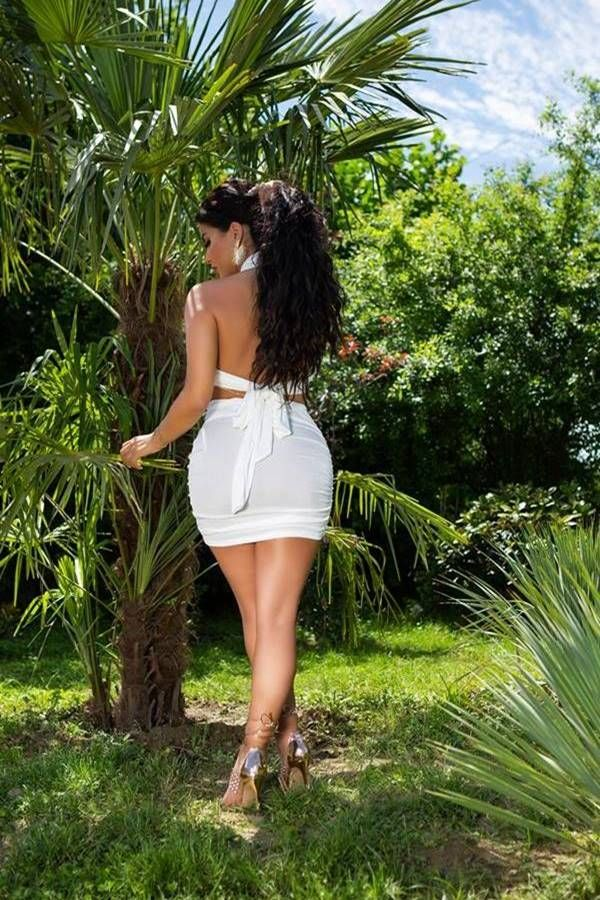 Set Sexy Skirt Crop Top White ISDK881857