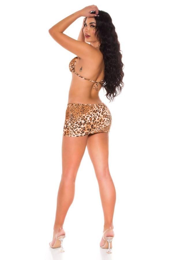 set skirt bra rings rhinestones leopard.