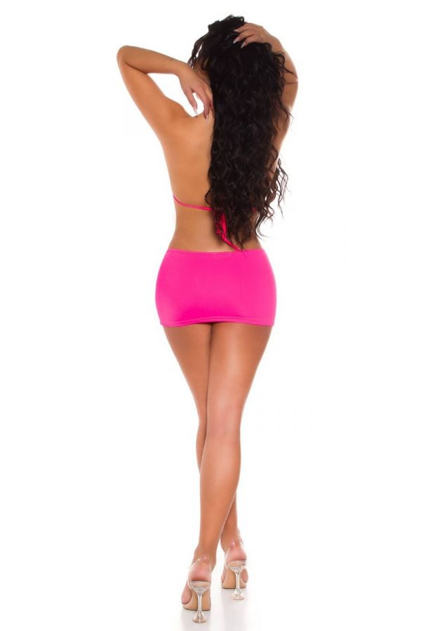 set skirt bra rings rhinestones neon pink.