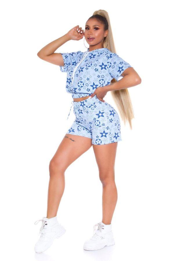 set crop top shorts hood blue.
