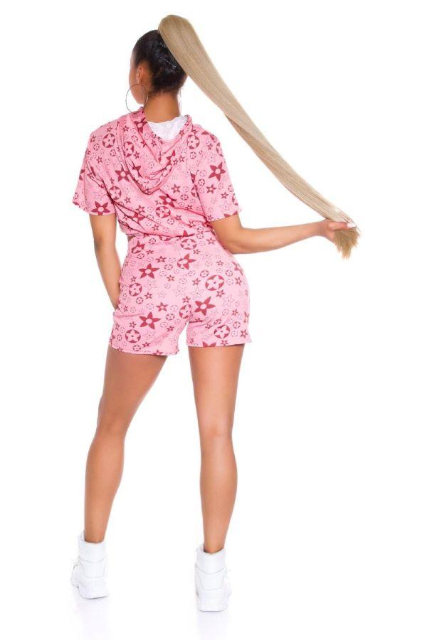 set crop top shorts hood pink.