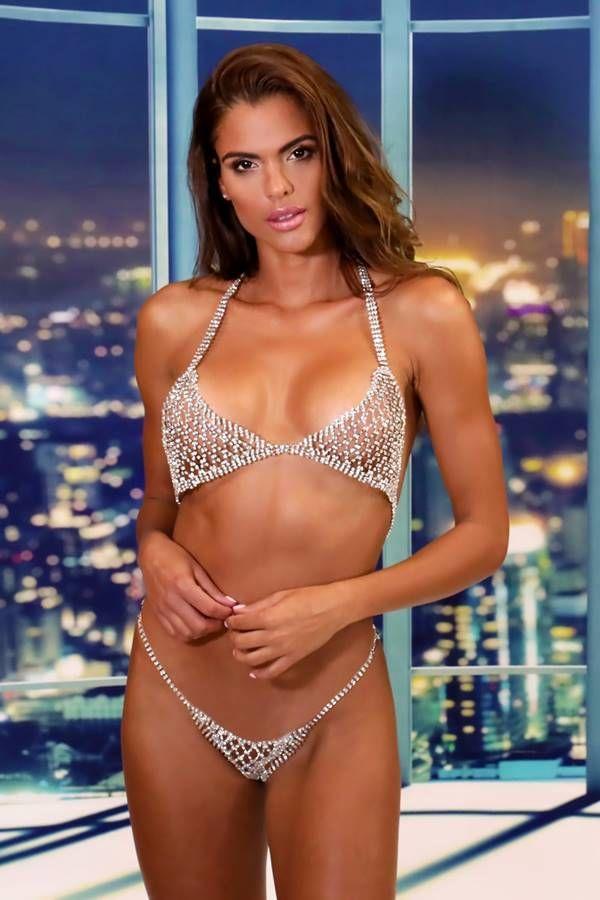 set jewelry bra string sexy strass silver.