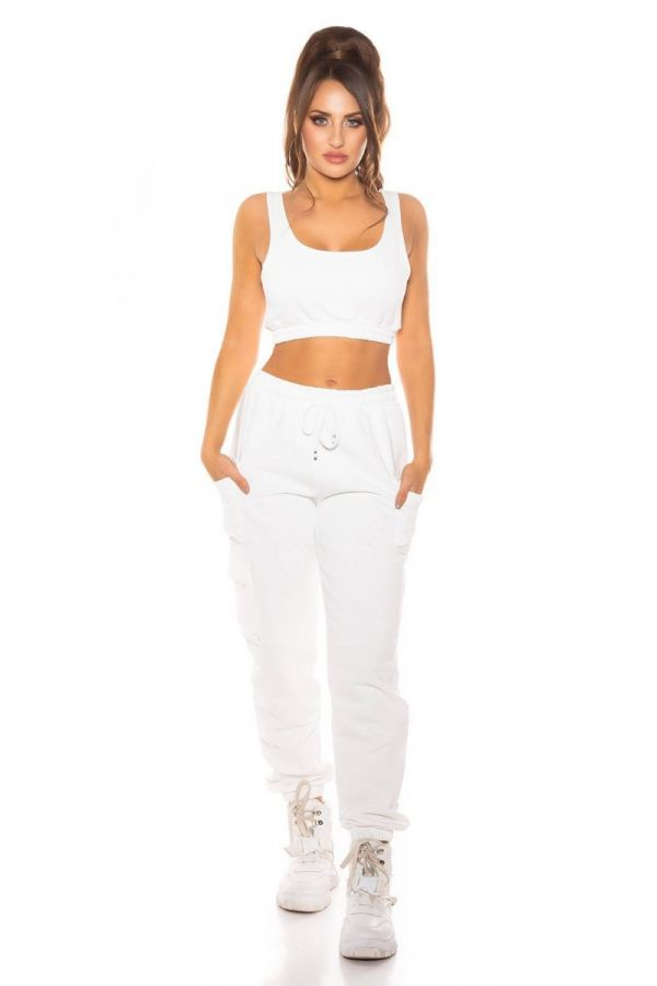 set sport cargo pants crop top white.