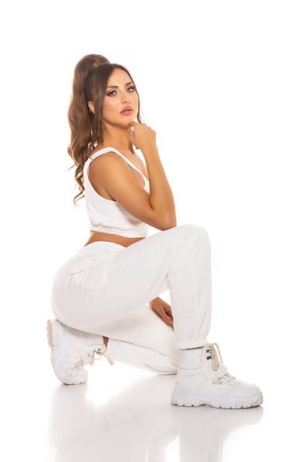 SET SPORT CARGO PANTS CROP TOP WHITE ISDH55941