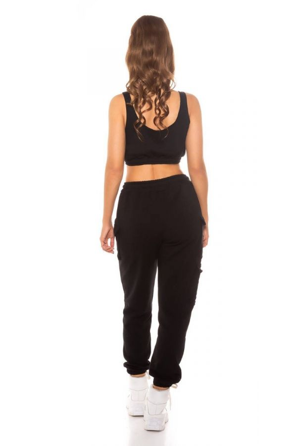 set sport cargo pants crop top black.