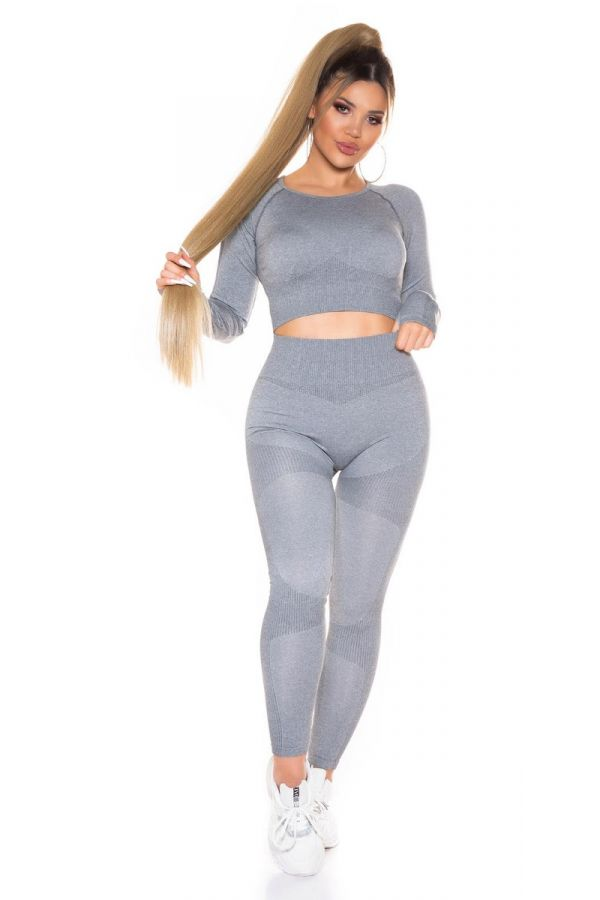 set gym top leggings highwaist grey.