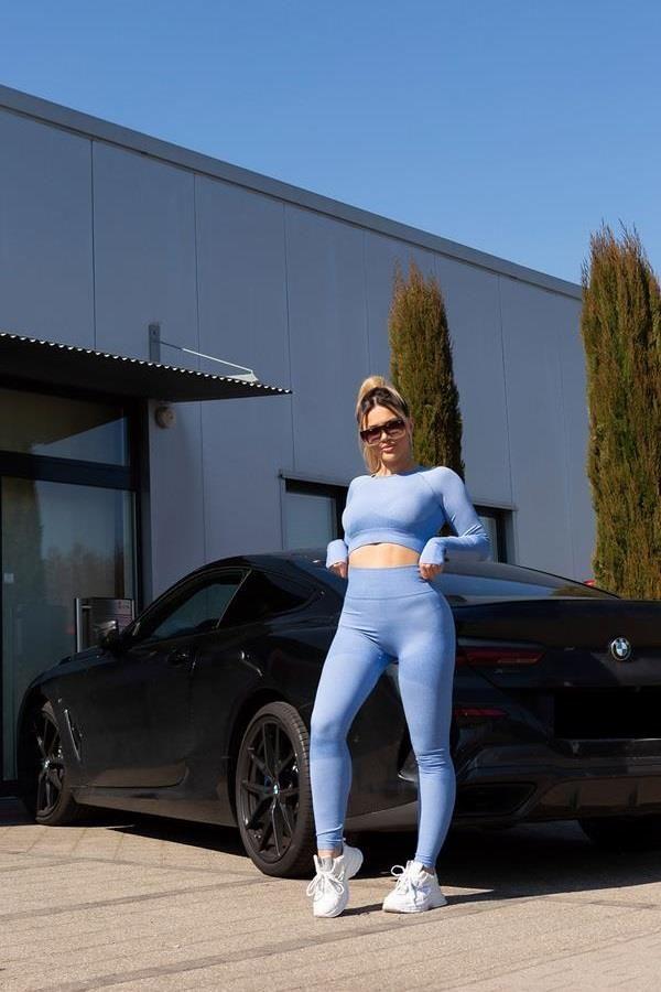 set gym top leggings highwaist blue.