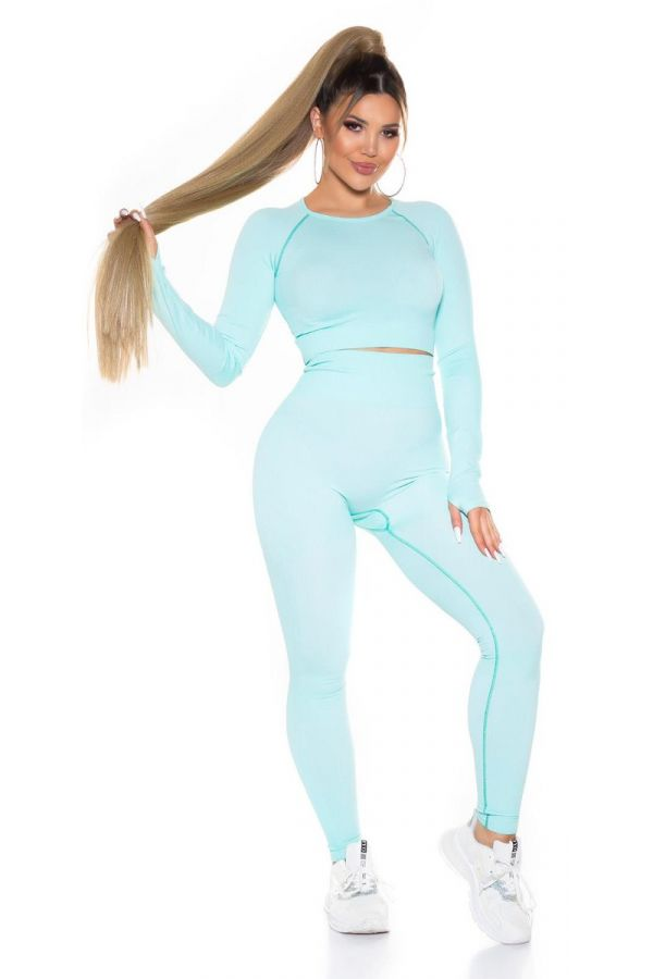 set gym top leggings highwaist turquoise.