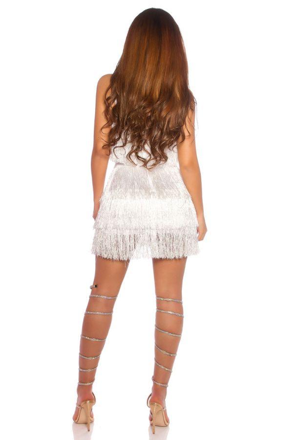 φόρεμα σέξι αμάνικο κρόσσια άσπρο.