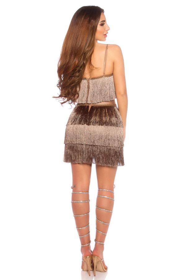 φόρεμα σέξι αμάνικο κρόσσια καπουτσίνο.