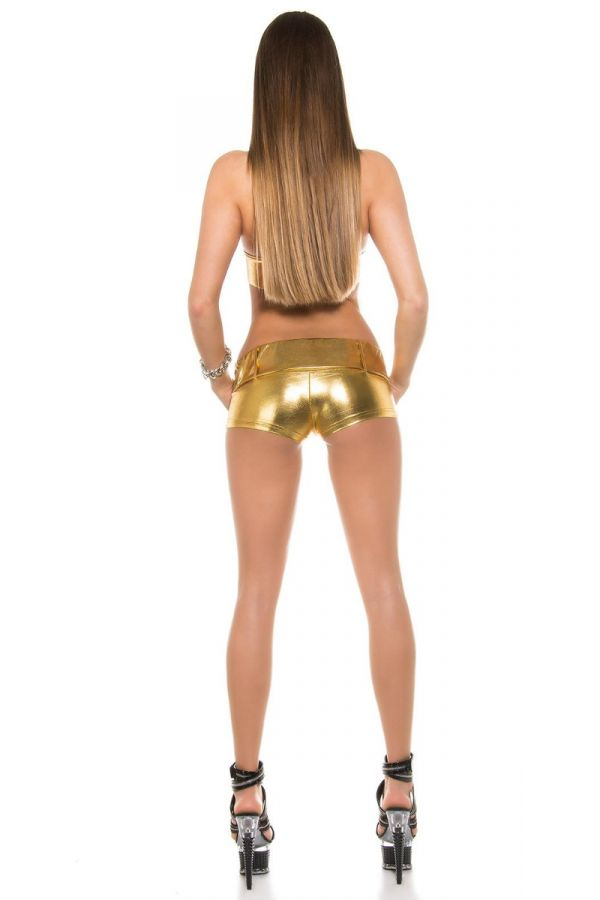 SET GOGO POLE DANCE HOT SHORTS TOP WETLOOK GOLD ISDP66040