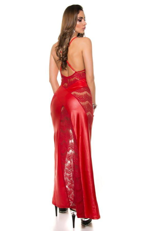 μάξι φόρεμα σέξι wet look με δαντέλα και εντυπωσιακή ανοιχτή πλάτη κόκκινο