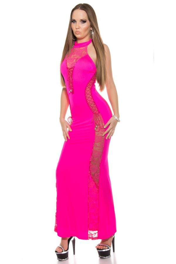 ISD00521 DRESS MAXI LACE FUCHSIA