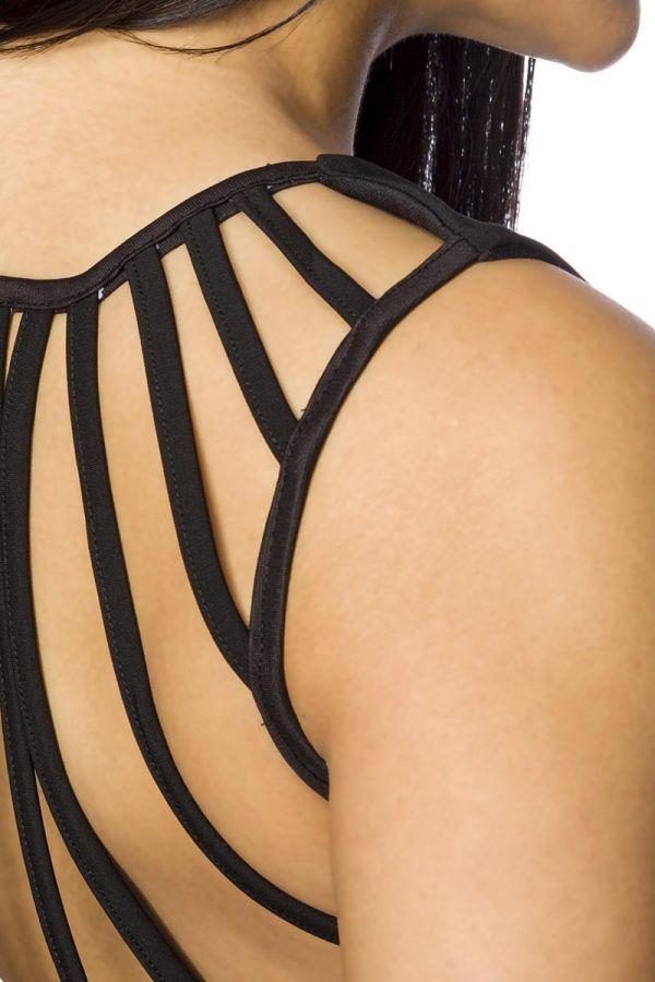 φόρεμα μαύρο σέξι εντυπωσιακή ανοιχτή πλάτη εγκοπές