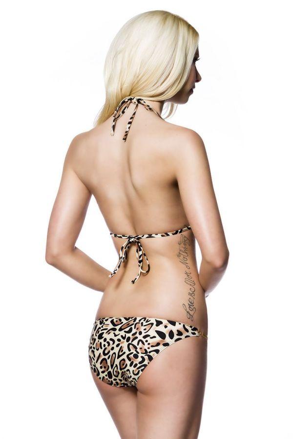 leopard μπικίνι μαγιό push up halter δέσιμο διακοσμημένο χρυσή αλυσίδα