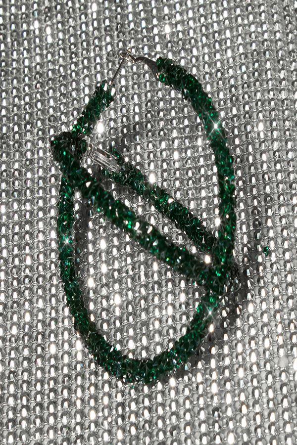 σκουλαρίκια κρίκοι γκλιτερ πράσινα.