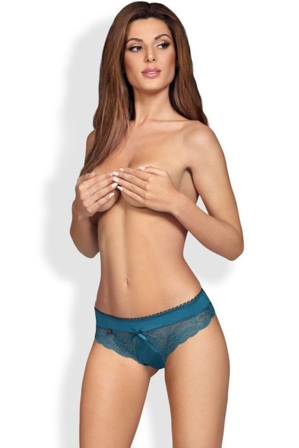 PANTIES SLIP BOW LACE TURQUOISE DRED220860