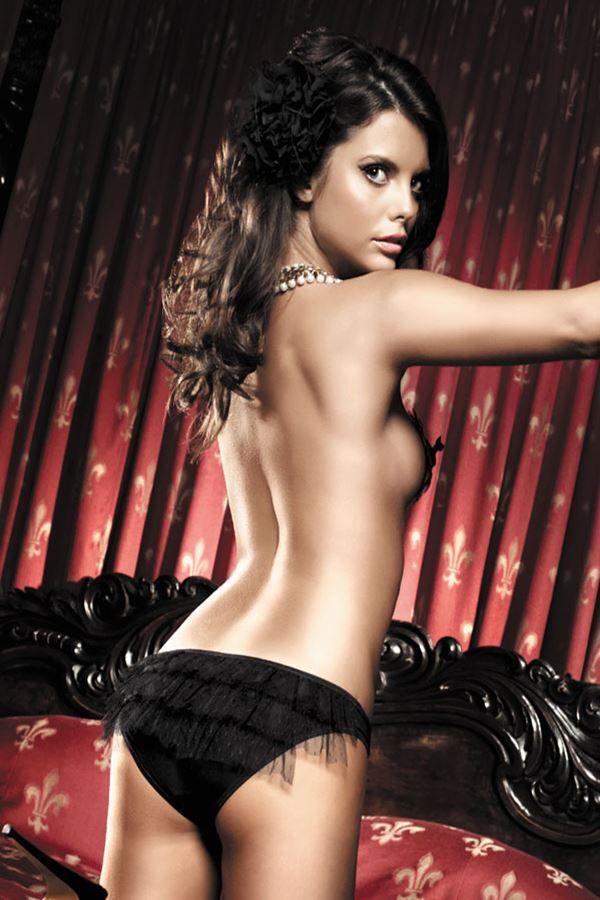 panty σλιπ μαύρο διακοσμημένο με απλικε βολάν πίσω