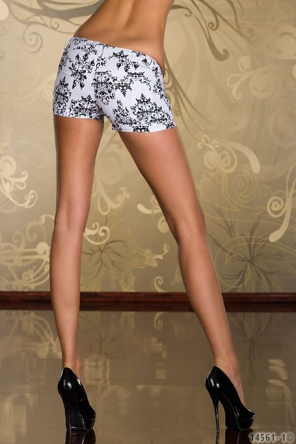 hot white black shorts with floral motif