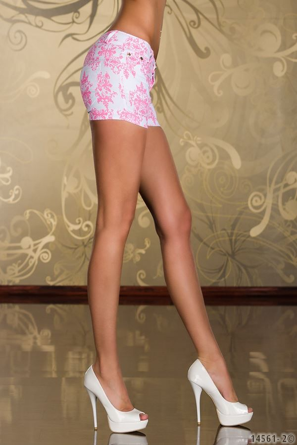 white pink hot shorts with floral motif