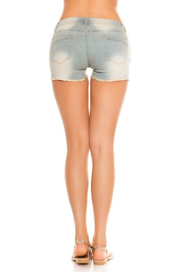 SHORTS PANTS JEAN SEXY SEQUINS LIGHT BLUE ISDK6001